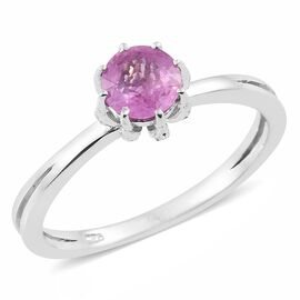 Designer Inspired- Madagascar Hot Pink Sapphire (Rnd) Solitaire Ring in Platinum Overlay Sterling Silver 1.000 Ct.