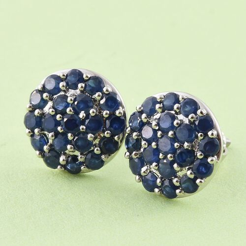 RHAPSODY 950 Platinum 2.50 Carat AAAA Blue Sapphire Pave Disc Stud Earrings with Screw Back