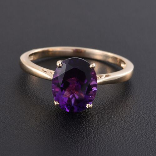 9K Y Gold AAA Moroccan Amethyst (Ovl) Solitaire Ring 3.000 Ct.