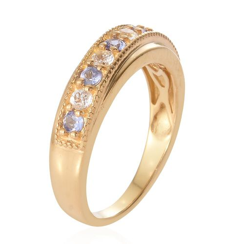 Tanzanite and White Topaz 0.58 Ct Silver Half Eternity Band Ring in Gold Overlay