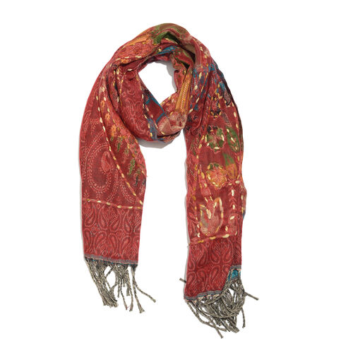Close Out Deal - Hand Embroidered Adda Work from India - Maroon, Blue and Multi Colour Floral Pattern Hand Embroidered Scarf with Tassels (Size 200X67 Cm)