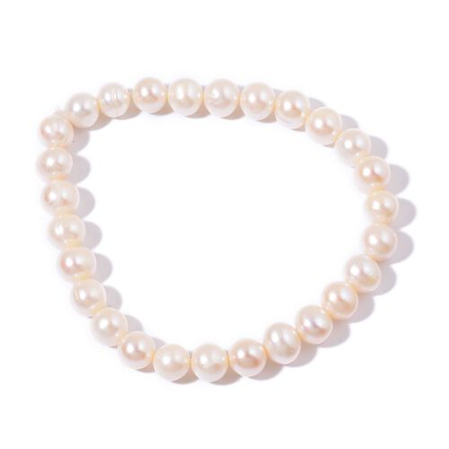 AAA Fresh Water White Pearl Necklace (Size 18 with 2 inch Extender) and Stretchable Bracelet (Size 7.50) in Rhodium Plated Sterling Silver
