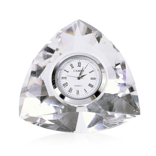 Triangular Shape Faceted Crystal Table Clock with Roman Numerals (Size 8X8X4.5 Cm)