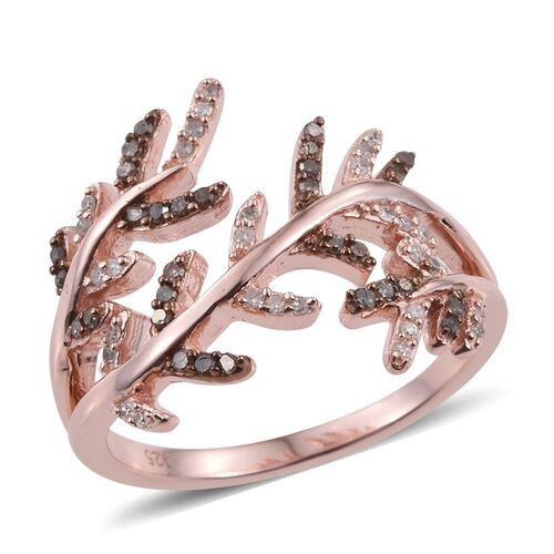 Diamond (Rnd), Natural Champagne Diamond Ring in Rose Gold Overlay Sterling Silver 0.250 Ct.