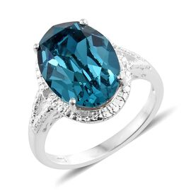 J Francis Crystal from Swarovski - Indicolite Colour Crystal (Ovl), Diamond Ring in Sterling Silver