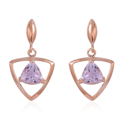 Rose De France Amethyst (Trl) Earrings (with Push Back) in Rose Gold Overlay Sterling Silver 2.000 Ct.