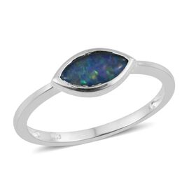 One Time Deal - AAA Australian Boulder Opal (Mrq) Solitaire Ring in Sterling Silver