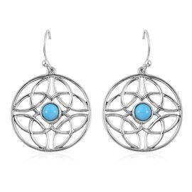 Designer Inspired - Arizona Sleeping Beauty Turquoise (Rnd) Hook Earrings in Sterling Silver 1.00 Ct.