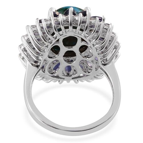 Table Mountain Shadowkite (Ovl 9.00 Ct), Iolite and White Topaz Ring in Platinum Overlay Sterling Silver 11.750 Ct.