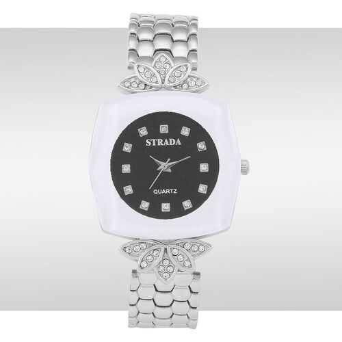 STRADA Japanese Movement White Austrian Crystal Studded Black Dial Water Resistant Watch in Silver Tone with Stainless Steel Back and Chain Strap