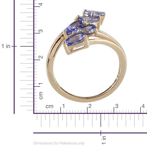 Close Out Deal 9K Y Gold AA Tanzanite (Pear) 5 Stone Crossover Ring 2.000 Ct.