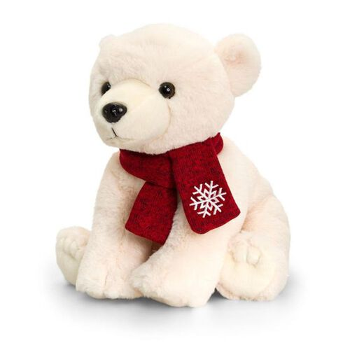 Keel Toys - Cream Colour Polar Bear with Red Colour Scarf (Size 25 Cm)