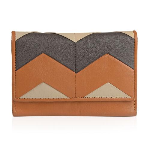 Genuine Leather RFID Blocker Tan Colour Wallet (Size 15X10 Cm)