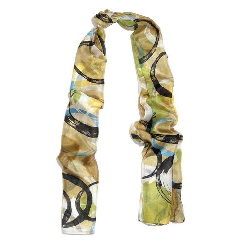 100% Mulberry Silk Golden, Black and Multi Colour Circle Hand Screen Printed Scarf (Size 180X100 Cm)