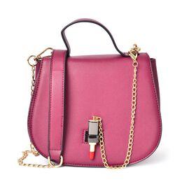 Burgundy Colour Lipstick Design Lock Crossbody Bag with Removable Chain Strap (Size 20X17X8.5 Cm)