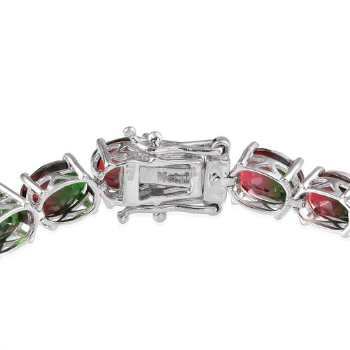 Tourmaline Colour Quartz (Ovl) Bracelet (Size 8) in Platinum Overlay Sterling Silver 31.000 Ct.