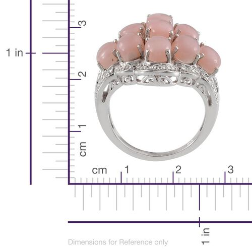 Peruvian Pink Opal (Ovl), Diamond Cluster Ring in Platinum Overlay Sterling Silver 6.770 Ct.