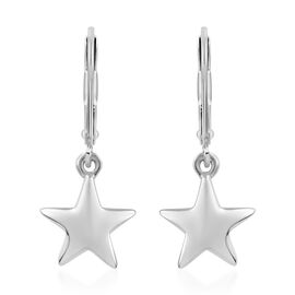 Star Silver Lever Back Earrings in Platinum Overlay, Silver Wt 2.57 gms