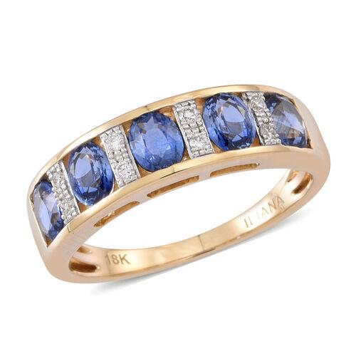 ILIANA 18K Y Gold AAA Ceylon Sapphire (Ovl), Diamond Ring 1.750 Ct.