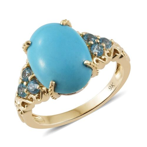 9K Y Gold AA Arizona Sleeping Beauty Turquoise (Ovl), Signity Pariaba Topaz Ring 5.000 Ct.