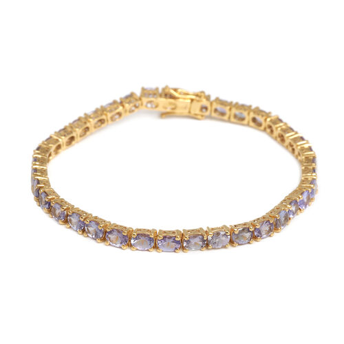 Tanzanite (Ovl) Tennis Bracelet (Size 7.75) in 14K Gold Overlay Sterling Silver 11.500 Ct.