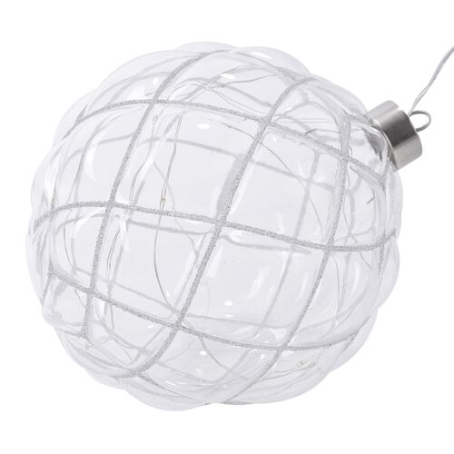 White Hanging Glass Ball with LED Lights