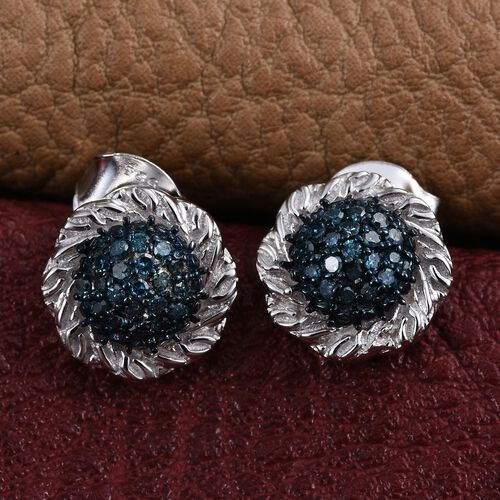 Blue Diamond (Rnd) Stud Earrings (with Push Back) in Platinum Overlay Sterling Silver 0.200 Ct.