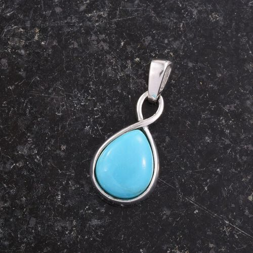 Arizona Sleeping Beauty Turquoise (Pear) Solitaire Pendant in Platinum Overlay Sterling Silver 1.750 Ct.