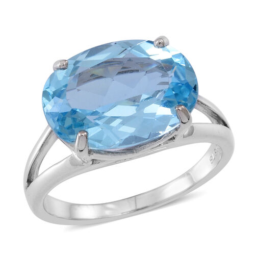 AAA Rare Sky Blue Topaz (Ovl) Ring in Rhodium Plated Sterling Silver 11.500 Ct.