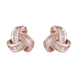 0.25 Carat Diamond Knot Stud Earrings in Rose Gold Plated Silver (with Push Back)