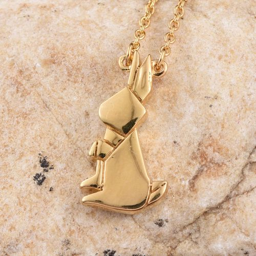 14K Gold Overlay Sterling Silver Origami Bunny Pendant With Chain (Size 18), Silver wt 5.61 Gms.