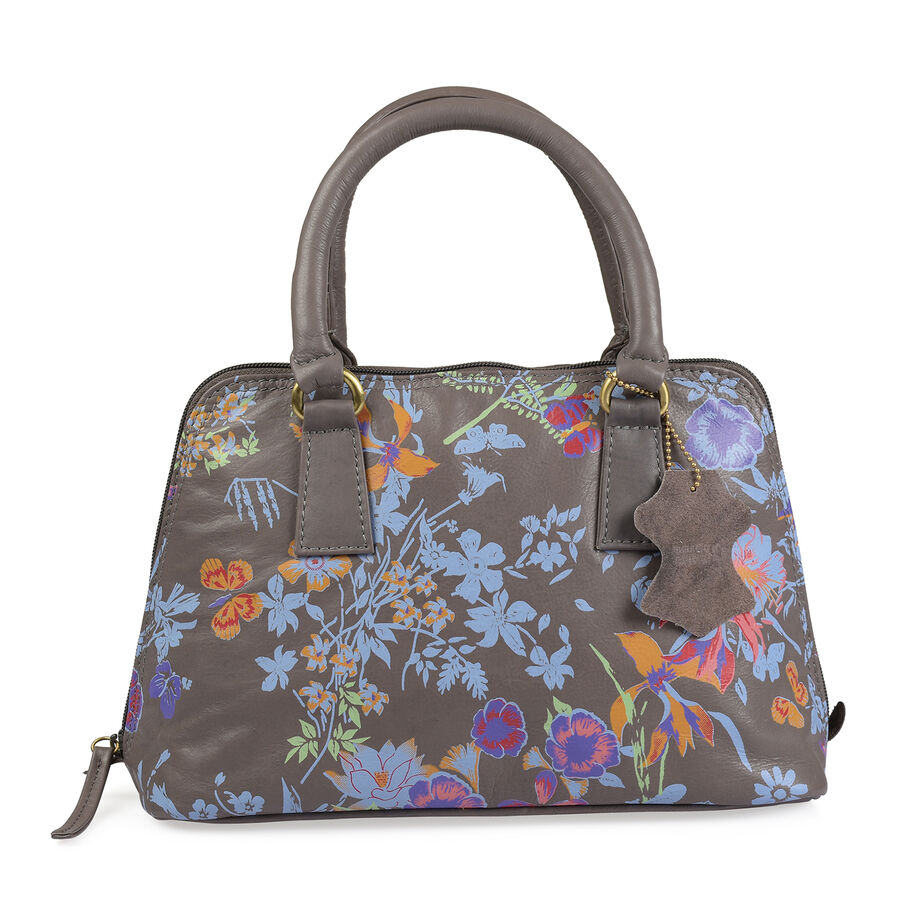 100% Genuine Leather RFID Blocker Light Grey Blue And Multi Colour Floral Pattern Handbag (Size ...