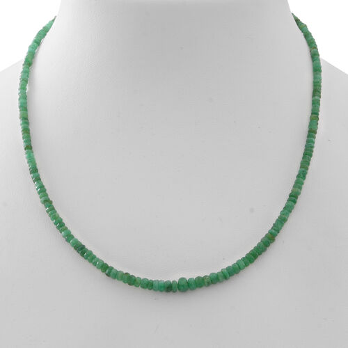 Limited - Kagem Zambian Emerald (Rnd) Necklace (Size 18 with 2 inch Extender) in Rhodium Plated Sterling Silver 50.000 Ct.