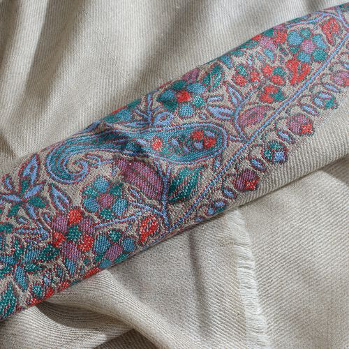 100% Cashmere Wool Cream, Green and Multi Colour Scarf with Floral Pattern Border (Size 200X70 Cm)