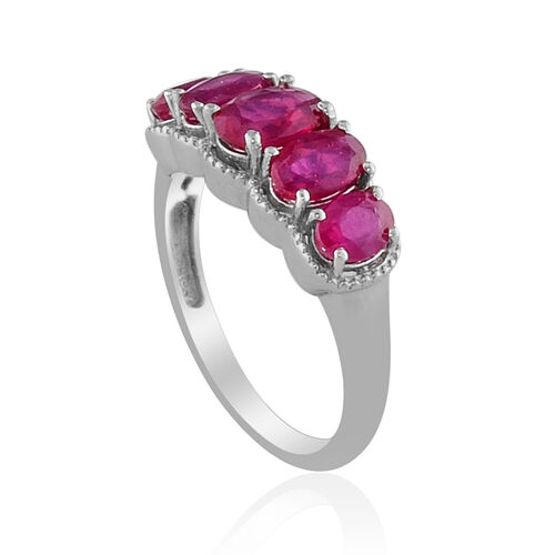 African Ruby Platinum Overlay Sterling Silver Ring  2.55 Ct.