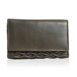 Genuine Leather RFID Blocker Moss Green Colour Wallet with Multiple Card Slots (Size 15.25X10.15X2.5 Cm)