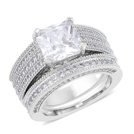 AAA Simulated White Diamond Princess Cut 2 Ring Set Silver Plated