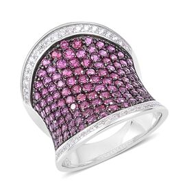 Rhodolite Garnet and Natural White Cambodian Zircon Ring in Black and White Rhodium Plated Sterling Silver 4.900 Ct.