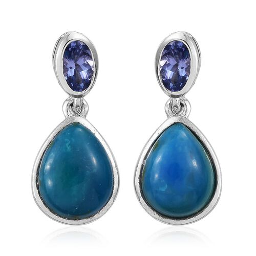 Natural Rare Opalina (Pear), Tanzanite Earrings (with Push Back) in Platinum Overlay Sterling Silver 3.250 Ct.