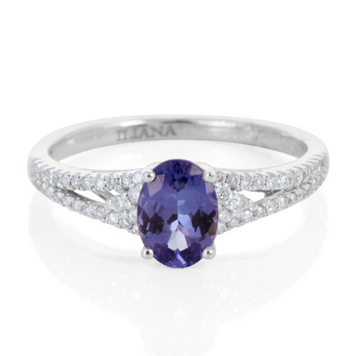 ILIANA 18K W Gold AAA Tanzanite (Ovl 1.10 Ct), Diamond (SI G-H) Ring 1.350 Ct.