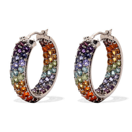 Mozambique Garnet (Rnd), Jalisco Fire Opal, Rhodolite Garnet, Paraiba Apatite, Tanzanite, Iolite, Hebei Peridot and Citrine Hoop Earrings (with Clasp) in Platinum Overlay Sterling Silver 8.536 Ct.