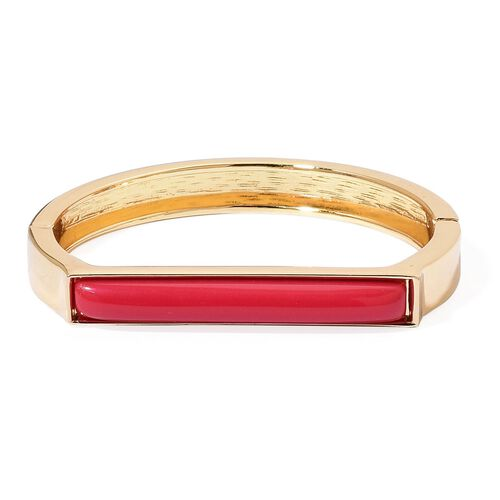 Designer Inspired-Simulated Red Jade Bangle (Size 7 to 7.5) Yellow Gold Plated