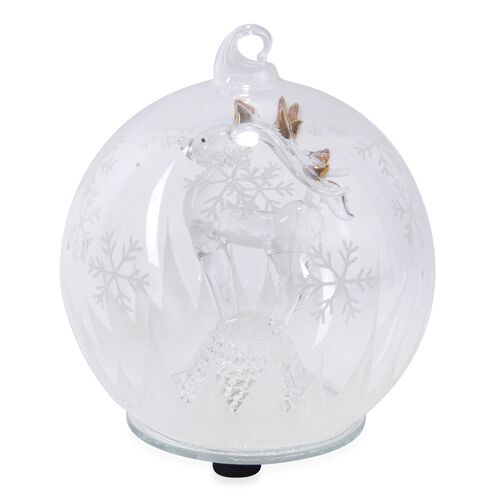 Home Decor - Christmas Reindeer Theme Glass Ball with Colourful LED Lights Inside