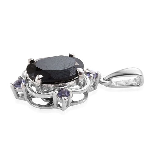 Boi Ploi Black Spinel (Ovl),  Catalina Iolite Pendant in Platinum Overlay Sterling Silver 3.250 Ct.