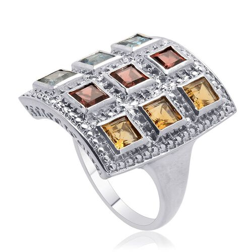 Electric Swiss Blue Topaz (Sqr), Mozambique Garnet, Citrine and Diamond Ring in Platinum Overlay Sterling Silver 3.500 Ct.