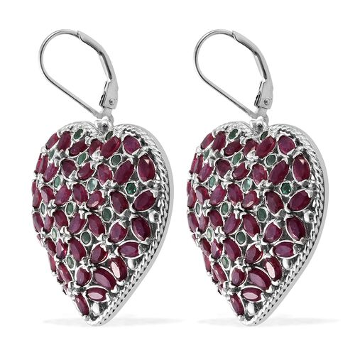 AAA African Ruby (Mrq), Kagem Zambian Emerald Heart Lever Back Earrings in Platinum Overlay Sterling Silver 12.000 Ct. Silver wt 10.98 Gms. Number of Gemstone 120