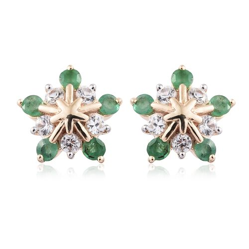 1.50 Carat AA Kagem Zambian Emerald and Natural Cambodian Zircon Snowflake Earrings in 9K Gold (with Push Back)