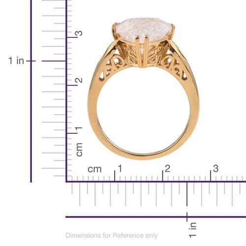 Diamond Crackled Quartz (Trl) Solitaire Ring in 14K Gold Overlay Sterling Silver 5.000 Ct.