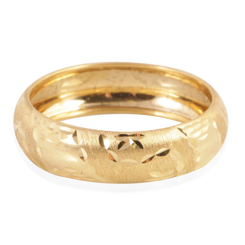 Royal Bali Collection 9K Yellow Gold Diamond Cut Band Ring