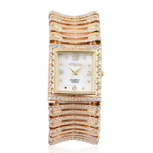 STRADA Japanese Movement White Austrian Crystal Studded Simulated MOP Dial Water Resistant Bracelet Watch in Yellow Gold Tone with Stainless Steel Back